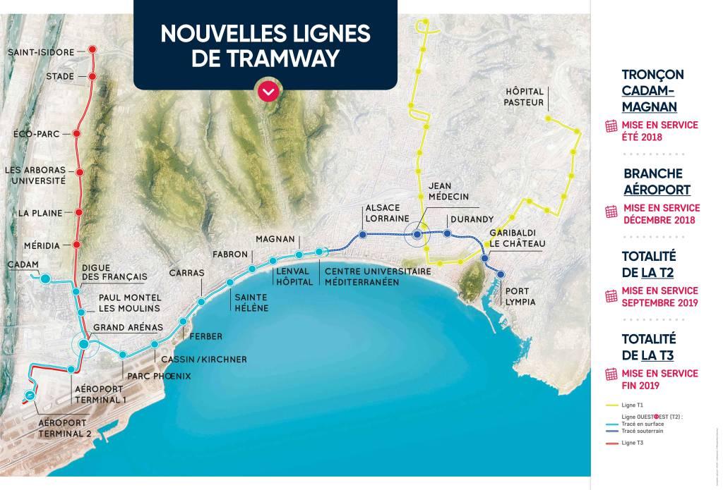 les lignes du Tramway de la Métropole Nice Côte d'Azur
