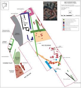 Plan général simplifié des vestiges mis au jour lors de la fouille.