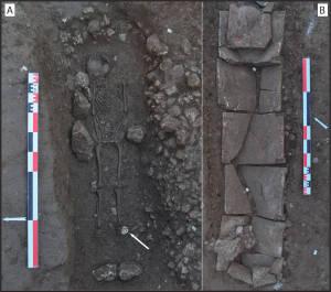 Sépultures à inhumation de la période hellénistique (A) et du Bas-Empire romain (B).