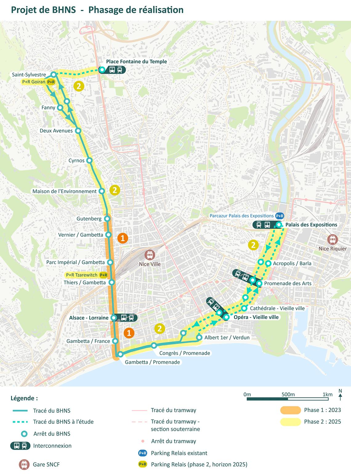 Tracé du BHNS. Départ de Saint-Sylvestre, descente de Cessole et Gambetta jusqu'à la promenade, puis remontée du Paillon jusqu'au palais des expositions