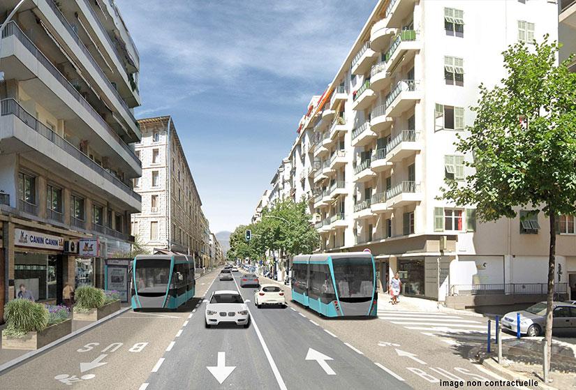 Projection de l'avenue Gambetta avec 4 voies : 2 de bus et vélo partagées et deux de voitures